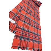 Vintage Merino Wool Scarf Tartan Plaid Great Britain
