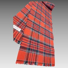 Vintage Merino Wool Scarf Tartan Plaid Great Britain