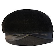 Vintage Riviera Black Velour Hat Made in Italy