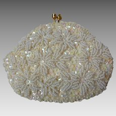 White Beaded & Sequined Coin Purse
