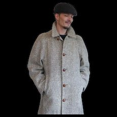 1950s Nubby Fleck Tweed Wool Overcoat Top Coat by Hunting Ridge Tweed Varsity Town Clothes for Bon Marche Large