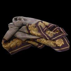 Vintage Echo Silk Scarf Glen Plaid & Oak Leaves 35 Inch
