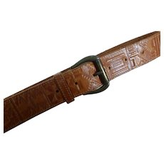 Vintage Embossed Leather Belt by Ritz
