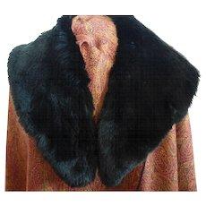Vintage 1960s Black Genuine Sheared Beaver Fur Stole Collar