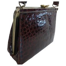Elegant Alligator Purse Handbag Cognac Brown 1950s