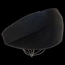 Stunning Leslie James Large Black Fur Felt Hat 1940's