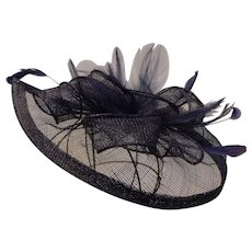 Fascinator Hat Sinamay Netting & Ribbons with Feathers Navy Blue