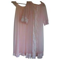 Vintage Pink Peignoir Gown & Robe Set Nylon Satin & Chiffon - Med to Large