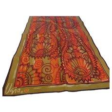 1960s Vera Neumann Long Silk Scarf, Vera Ladybug Signature