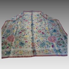 Vintage Smithsonian Institution 100% Silk Scarf Pastels Floral Print