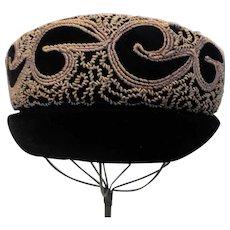 Vintage Elegant Black Velvet Taupe Corde' Hat by Gretchen Weber