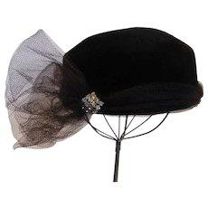 Vintage Black Felt Fur Velour Hat Therese Ahrens, New York for Saks