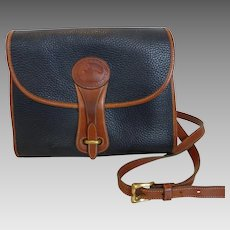 Vintage Dooney & Bourke All Weather Leather Cross Body Shoulder Bag Black & Brown