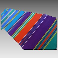 Vintage Long Silk Jewel Tone Striped Scarf