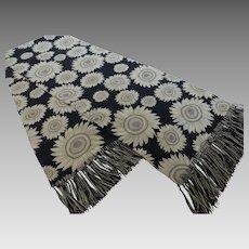 Vintage Long Silk Sunflower Scarf w Fringe