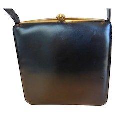 Vintage Susan Gail Black Calfskin Kelly Style Purse Handbag