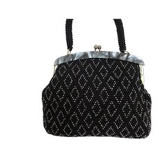 Black Plastic Beaded Purse Marbled Lucite Frame Hong Kong
