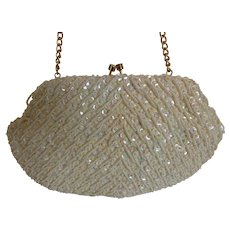 Vintage JEM Hand Beaded Sequined White Clutch Handbag Purse