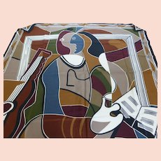 Vintage ECHO Cubist Art Silk Scarf 35 Inch
