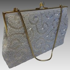 Vintage White Beaded Evening Bag Purse Handbag
