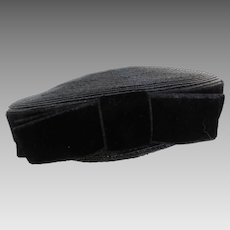 1950's Black Woven Bumper Hat w Original Hat Pin