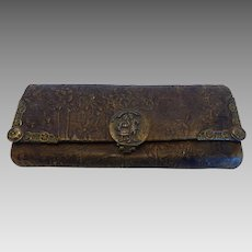 Antique Hand Purse Wallet Embossed Tooled Leather & Chased Brass