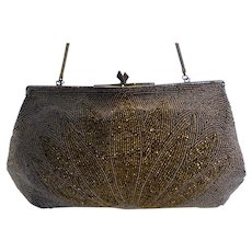 Beautiful Vintage Bronze Beaded Purse Made in Belgium for Marshall Field & Co