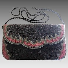 Vintage DELILL Black and Red Beaded  Purse