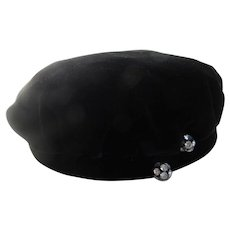 1940s Black Velvet Beret Style Hat Rhinestones for I. Magnin