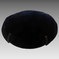 Vintage Black Silk Velvet Pillbox Hat