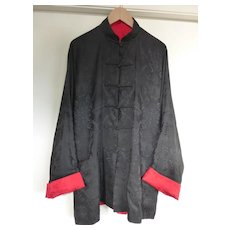 1960s Men's Reversible Chinese Silk Jacket Black/Red with Frog Closures Large
