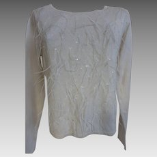1980s Carlisle Silk Cashmere Sweater with Sequins & Ostrich Feathers AS NEW w Tags Med.