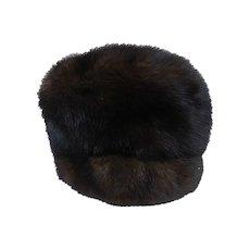 1960s Fabulous Mr. D' Mink FUR Hat Chocolate Brown