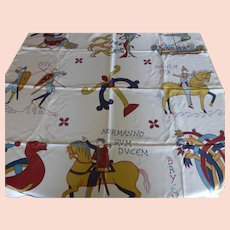Vintage French Couture Silk Twill Scarf Bayeux Tapestry