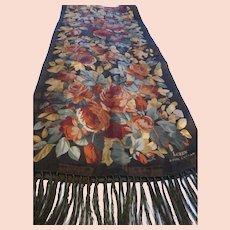 Vintage Long Ralph Lauren Long Silk Scarf w Fringe