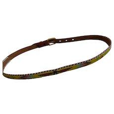 Vintage Native American Souvenir Beaded Tooled Leather Belt Thunderbird Pattern