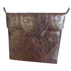 Italian Bronze Embossed Leather Purse