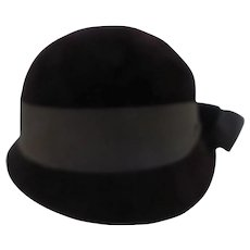 Vintage Betmar Chocolate Brown Velour Cloche Hat for Frederick & Nelson