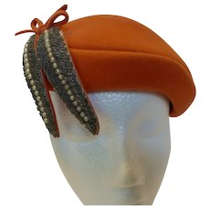 Vintage 1950s Orange Velour Hatw Beaded Plumes LaRue Original