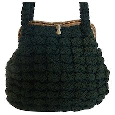 Vintage Forest Green Crocheted Handbag with Ornate Gold Tone Frame