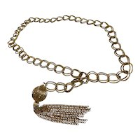 Vintage Gold Tone Double Chain Link Belt with Tassel