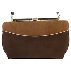 Vintage Kelly Style Suede Handbag Brown Tones by Town & Country