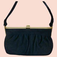 Coblentz Original Midnight Navy Blue Suede Purse Handbag Vintage 1950s