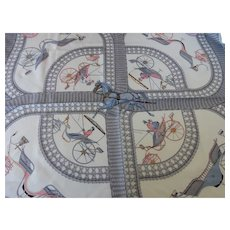 """Rare HERMES Scarf """"Voitures Paniers""""by Julia Abadie Silk Twill France 90cm"""