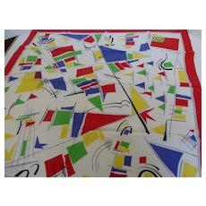 Vintage Nautical Motif Silk Scarf Sailboats and Marine Flags