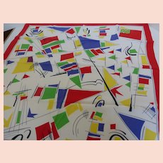Vintage Nautical Motif Silk Scarf Sailboats and Marine Flags