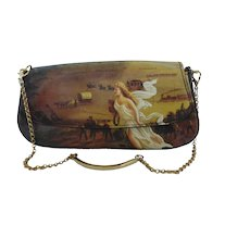 """Authentic ICON Leather Printed Art Clutch Purse """"American Progress"""" MINT Unused"""