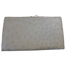 Vintage Italian White Ivory Ostrich Wallet for Fantasia