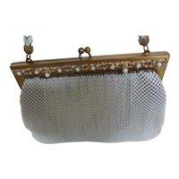 Whiting & Davis White Metal Mesh Purse Handbag with Embellished Frame