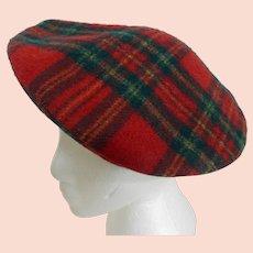 Vintage Tartan Red Plaid Wool Beret Hat Scotland